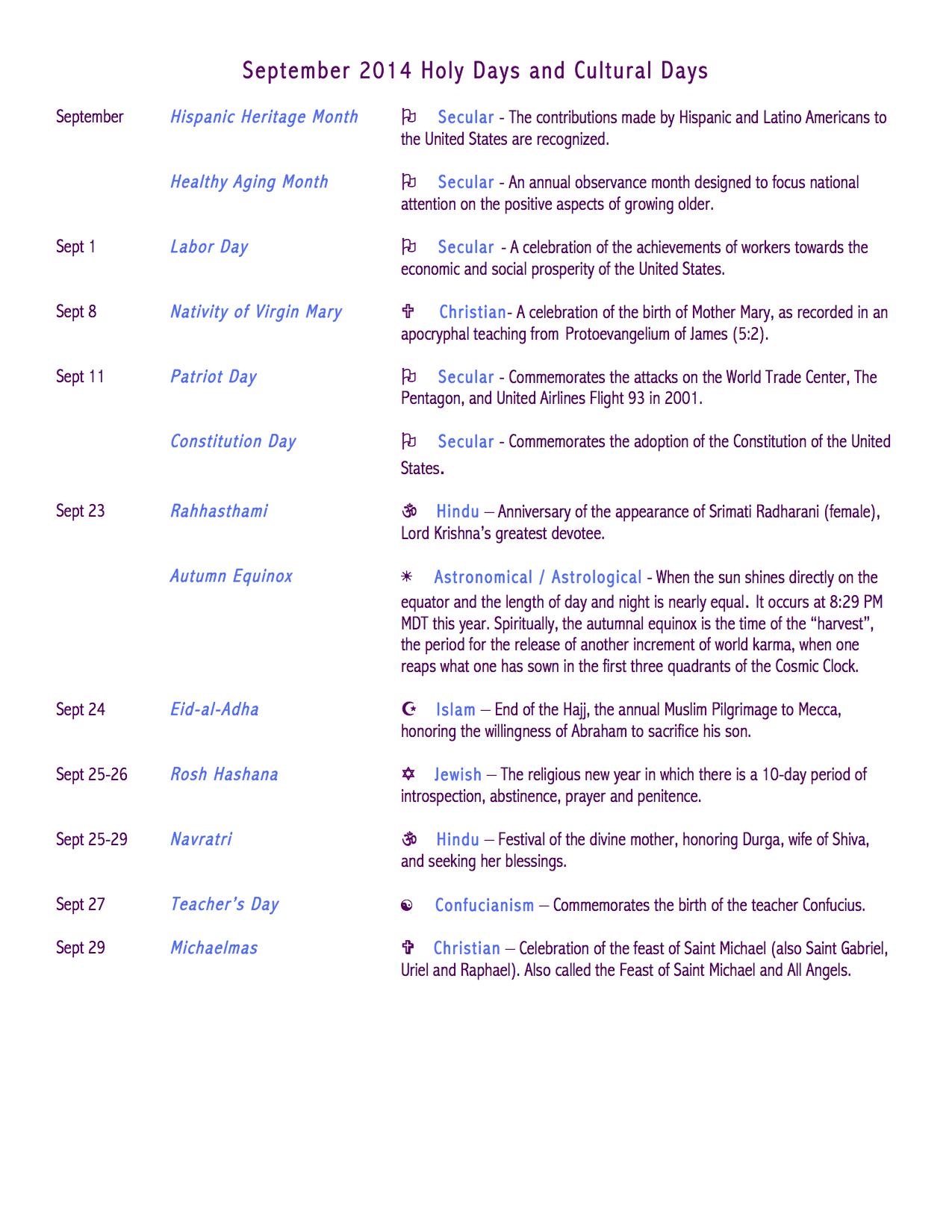September Holidays Observances Calendar Autos Post