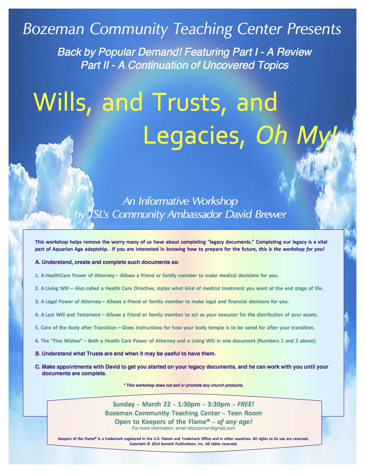 March Wills Workshop