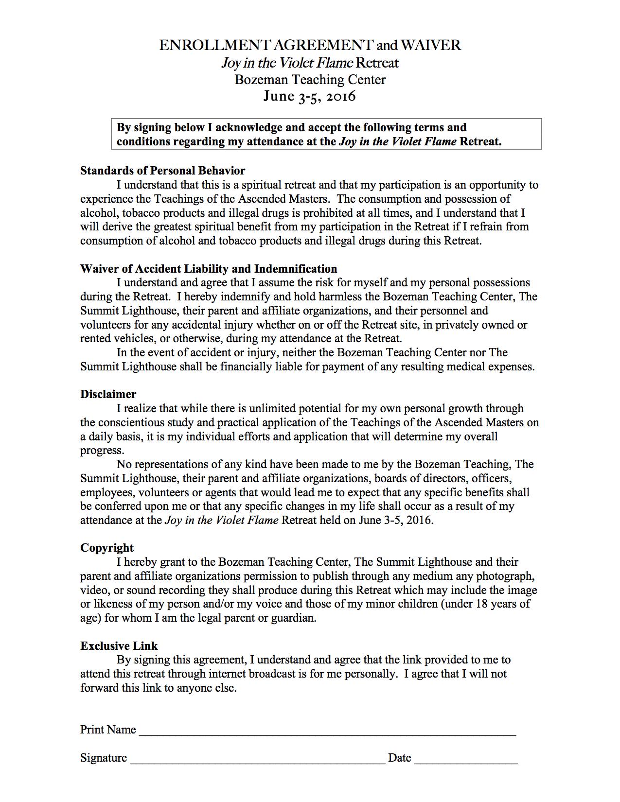 Enrollment Agreement And Waiver Form Bozeman Community Teaching Center